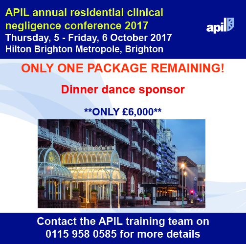 APIL annual residential clinical negligence conference 2017 sponsorship opportunities