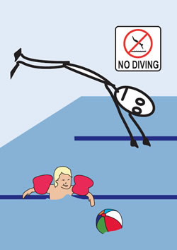 Stick man diving